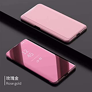 OPPO Find X Case、魅力的なOutlook Platingミラー表面パースペクティブPC + PU Leather Flip Case Cover for OPPO Find X (色 : Rose Gold)