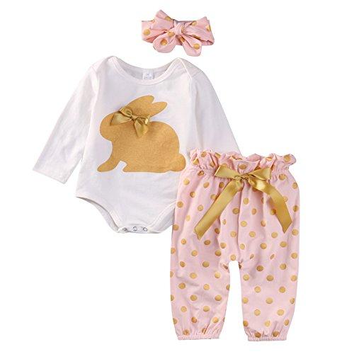 SCFEL Neonata appena nata del bambino Coniglio Stampa pagliaccetto + Dot pantaloni + fascia che coprono le Outfits (Stampa del coniglio, 0-3 Mesi)