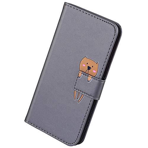 Herbests Kompatibel mit Samsung Galaxy A10S Handyhülle Leder Hülle für Jungs Männer Cute Cartoon 3D Tier Muster Leder Schutzhülle Flip Case Brieftasche Hülle Klapphülle,Bär Grau