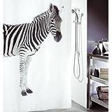 LAundNA 72 Zebra-Polyester-Gewebe-Badezimmer-Duschvorhang imprŠgniern & schimmelresistent x 72