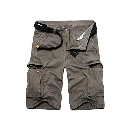 Fashion New Men's Summer Tactical Style Military Cargo Shorts Casual Multi Pocket Solid Cotton Men Beach Short Overalls,Gray Green,32