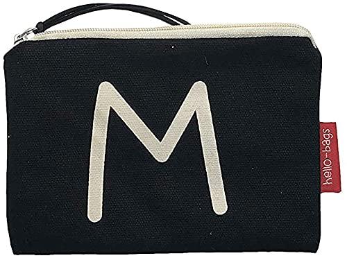 Hello-Bags. Bolso Monedero/Billetero/Tarjetero. Algodón 100%. Modelo: M. Negro. con Cremallera y Forro Interior. 14 * 10 cm. Incluye Bonito sobre Kraft de Regalo.