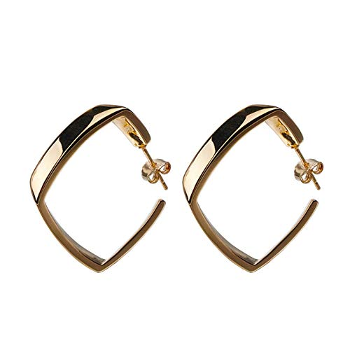 XHJLNNY XINHEJULN Women's Simple 925 Sterling Silver Hoop Earrings, Party Birthday Gifts, Minimalist Geometric Square Earring Accessories Fashionable (Metal Color : Gold)
