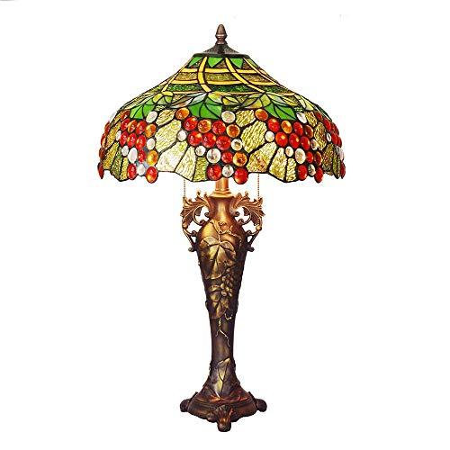 Escritorio de mesa estilo Tiffany retro al lado de la lámpara, 28 pulgadas de alto Patrón de flores Pantalla de vidrio verde Lámpara de mesita de noche antigua para sala de estar Dormitorio Escritorio