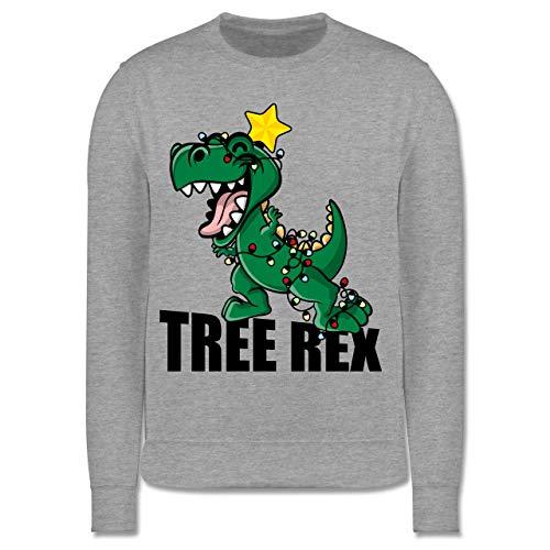 Shirtracer Weihnachten Kind - Tree Rex - 152 (12/13 Jahre) - Grau meliert - T-Rex - JH030K - Kinder Pullover