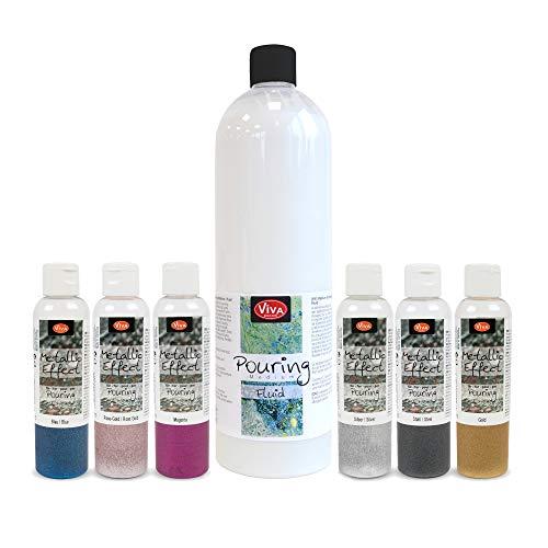 Viva Decor Metallic Effekt für Pouring Set Fluid - Gieß-Farbe, Acrylic-Pouring, Puddle-Pouring, Dirty-Pouring, Gieß-Medium, Mettalic-Effekt Viva