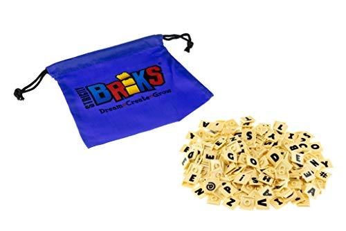 Strictly Briks Einzelne AlphaBriks 100 % kompatibel mit allen großen Marken | leicht zu entfernen | Fliesen für Bildung und Spaß | 200 x 2 zum Patent angemeldete Alphabet-Buchstaben-Ziegel