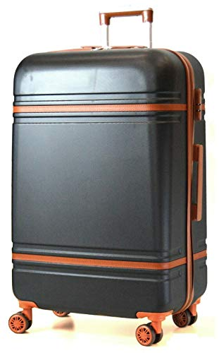 DK Luggage Lightweight ABS-147 Hardshell Medium M 24' Suitcase 4 Wheel Spinner Black