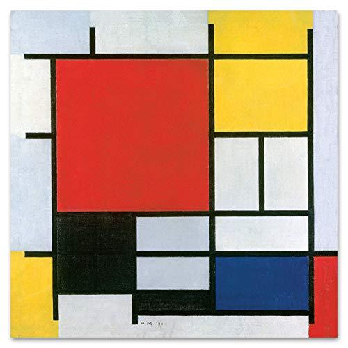 Giallobus - Quadro - Piet Mondrian - Composizione n. 11 in Rosso Giallo Blu e Nero - Vetro Acrilico Plexi - 100x100 - Pronto da Appendere - Quadri Moderni per la casa