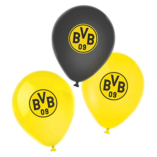 Amscan 9908533 - Luftballons BVB, 6 Stück, Größe 27,5 cm / 11