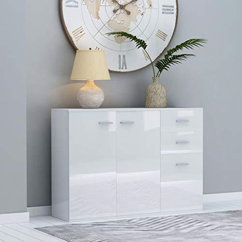 UnfadeMemory Sideboard Spanplatte Kommode Wohnzimmer Schlafzimmer Flur Beistellschrank Standschrank mit 2 Staufach und 3 Schubladen 105 x 30 x 75 cm (Hochglanz-Weiß)