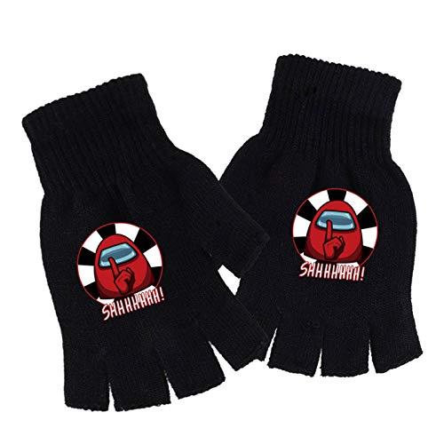 BUBABOX Among Us Gloves Among Us Impostor Game Half Finger Gloves Stretchy Knit Gloves(one_size Impostor Game-Black)
