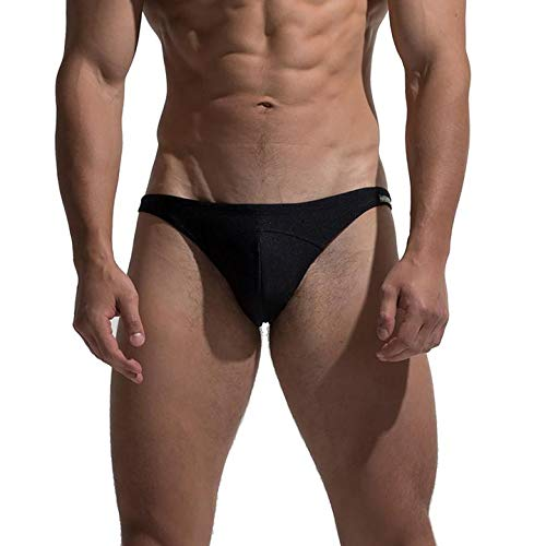 DESMIIT Men's Modern Sexy Swimwear Low Rise Tanning Swim Briefs Black Large