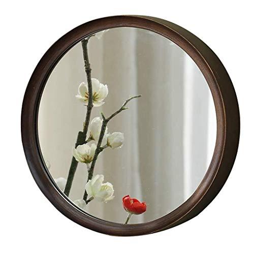 Round Combination Wall Mirror Bathroom Mirror with Wooden Mirror Frame   Premium -
