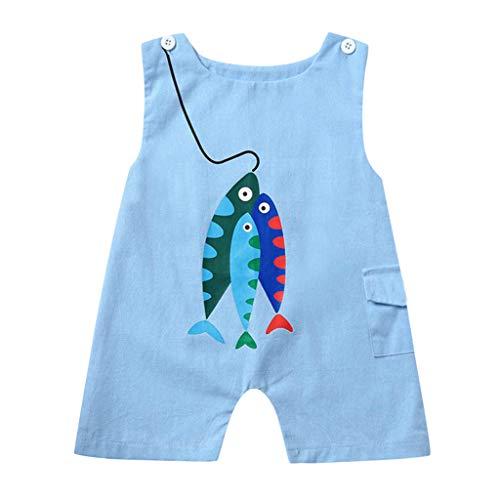MAYOGO Ropa bebé Carters Mono, Pijamas Mameluco Estampado Pescado para Bebe Unisex Pelele Recién Nacido bebé niño Ropa bebé Niña sin Manga Body bebé niño de 0-2 Años Chico Bodies