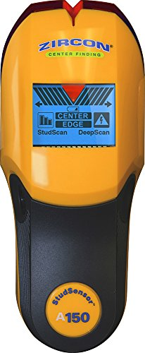 "Zircon Stud Finder DIY/Pro StudSensor A150 Wall Scanner; StudScan / DeepScan Modes Detect Edges and Center of Wood / Metal Studs to 1 ½"" Alerts Presence of Live, Unshielded AC US Model"