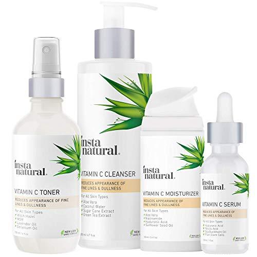 Vitamin C Skin Care Bundle - Face Wash, Skin Toner, Vitamin C Serum & Vitamin C Face Moisturizer for Women & Men - Cleanse, Moisturize & Prevent Wrinkles - Natural Anti Aging Facial Kit