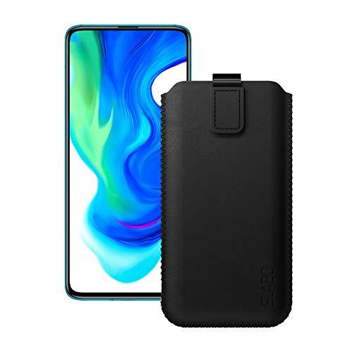 Preisvergleich Produktbild Slabo Schutzhülle für Xiaomi Poco F2 Pro 5G Schutztasche Handyhülle Case mit Magnetverschluss aus PU-Leder - SCHWARZ / Black