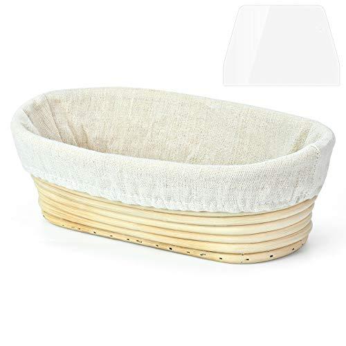 Cesta de Fermentación de Pan, Cesta para panificación Cesta de ratán molde de pan con forro de lino, Banneton Ovalada 750g, Cesta de fermentación Masa, Raspador de Masa