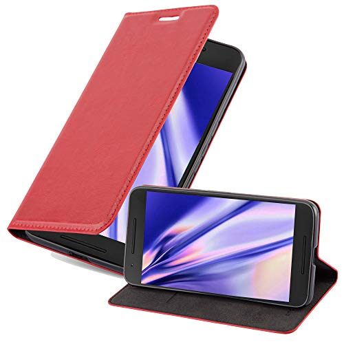 Cadorabo Hülle für Huawei Nexus 6P - Hülle in Apfel ROT – Handyhülle mit Magnetverschluss, Standfunktion & Kartenfach - Case Cover Schutzhülle Etui Tasche Book Klapp Style