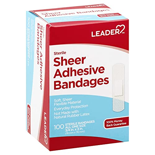Leader Latex Free Sheer Adhesive Bandages, one size (100 count per box)