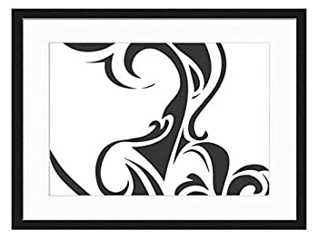 Wood Framed Canvas Artwork Home Decore Wall Art  Black White 20x14 inch  - Abstract Tribal Tattoo Indian Aztec Mexican