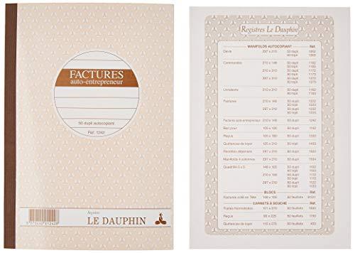 Le dauphin Cahier auto entrepreneur facture Manifold f:14,8 x 21 cm 50 feuilles duplis