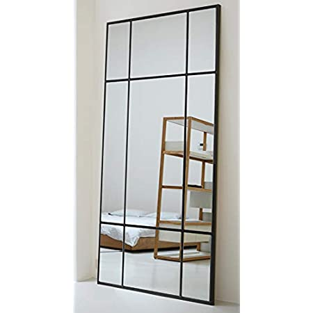 Direkte Import Miroir sur Pied en m/étal Noir Miroir de Chambre sur Pied | Design Danois Miroir Long rectangulaire 160 x 60 x 3cm Vertical et Horizontal