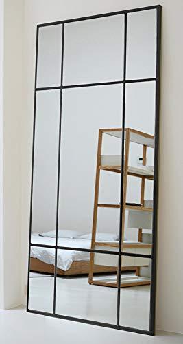Standspiegel Ganzkörperspiegel, Schwarz, aus Metall – Rechteckiger Ankleidespiegel | [H 220* B 110* T 3cm] | Designed in Dänemark | Garderobenspiegel groß, lang, stehend | vertikal/horizontal