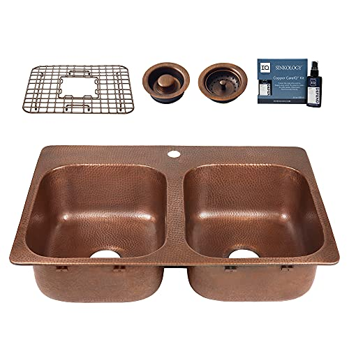 Sinkology K210-BD1 Angelico 1-Hole Drop-in 33 in. Double Bowl Grid, Drains, and Care Kitchen Sink Kit, 33 inch, Antique Copper