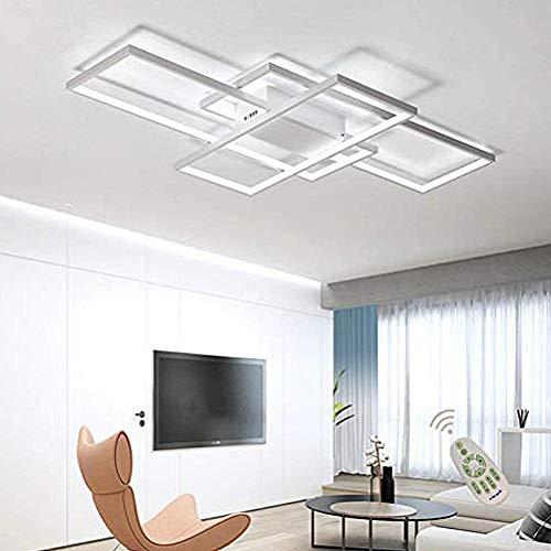 Wohnzimmerlampe Modern LED Decke Dimmbar 3000K-6500K Acryl Lampenschirm Deckenleuchte Chic Eckig Designer-Lampe Esstischlampe Schlafzimmer Fernbedienung Deckenlampe Pendelleuchte Flur Lampe