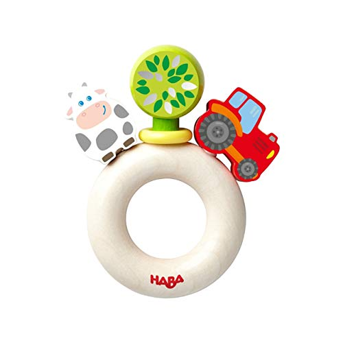 HABA Farm World Wooden Clutching Toy with Plastic Ring (Made in Germany)
