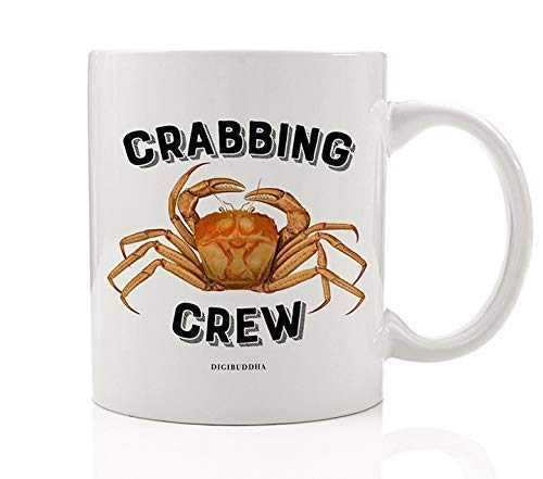 Cute CRABBING CREW Coffee Mug Gift Idea Crab Catching Team Seafood Crabmeat Lover Christmas Birthday Father's Day Present Kids Dad Husband Fisherman Family Friend 11oz Ceramic Cup Digibuddha DM0419