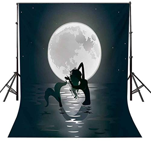 Underwater 8x10 FT Backdrop Photographers,Mermaid Singing at Night Silhouette Full Moon Rays Mythical Ornament Art Print Background for Baby Shower Bridal Wedding Studio Photography Pictures Black Gr
