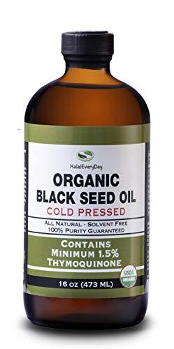 Organic Black Seed Oil - USDA Certified, Cold Pressed Glass Bottle 16oz - Over 1.5% Thymoquinone Turkish Black Cumin Nigella Sativa Non-GMO 100% Pure Blackseed Oil