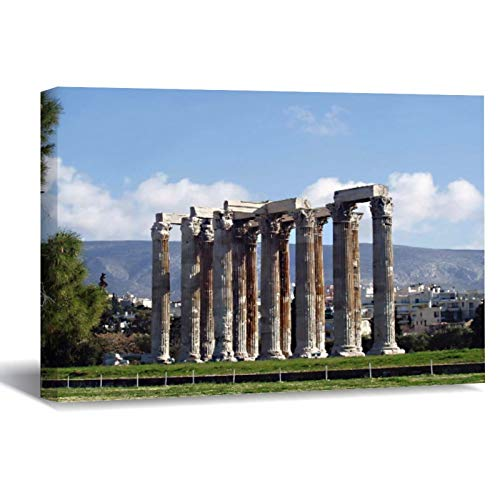 Temple Of Olympian Zeus Canvas Picture Painting Artwork Wall Art Poto Framed Canvas Prints for Bedroom Living Room Home Decoration, Ready to Hanging 8'x12'