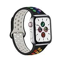 Gizget コンパチブル Apple Watch バンド 42mm 38mm 44mm 40mm、ソフトシリコン交換用リストバンド iWatch series 5/4/3/2/1に対応、 男性、女性、LGBT向けプライドエディション, iWatchは含まれていません (42mm/44mm M/L, Pride ブラック)