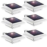 LED Solar Dachrinnenleuchte,KEENZO Solarlampen für Außen, 25LEDs Solarlicht, Auto ON/OFF, Weiß, Kaltesweiß Licht (6er set)
