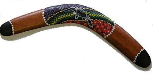 One World is Enough Dekorativ Aborigines Stil Punkte Bemalte Holz Boomerang - 40 cm - Fair Trade