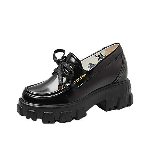 Zapatos de Corte para Mujer, Vintage, Plataforma Baja, cuñas, Zapatos Mary Jane, Punta Redonda, Cordones, Zapatos de Vestir Antideslizantes para Oficina