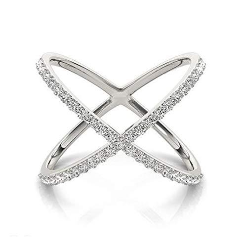 Anillo de diamantes en forma de X Anillo de diamantes en oro blanco de 14 k 0.50 ct. Anillo de compromiso de oro blanco Por siempre uno, anillo de bodas, anillo de diamantes de promesa