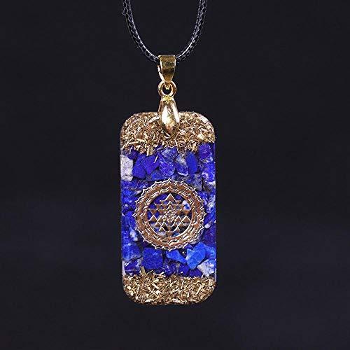 DSHT Collar con Colgante De Energía De Piedra Natural Collar Misterioso De Chakra De Resina para Hombre, Collar para Mujer
