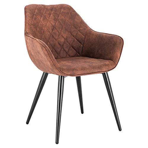 WOLTU Esszimmerstühle BH231br-1 1x Küchenstuhl Wohnzimmerstuhl Polsterstuhl mit Armlehen Design Stuhl Stoffbezug Metall Braun