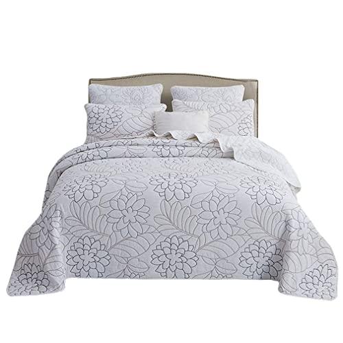 Tagesdecke 3-teiliges Dreieck Patchwork Revisible Lightweight Quilt Set Bedruckte Blumen Tagesdecke Tagesdecken Bettüberwurf mit 2 Kissen,230 x 250 cmTagesdecke