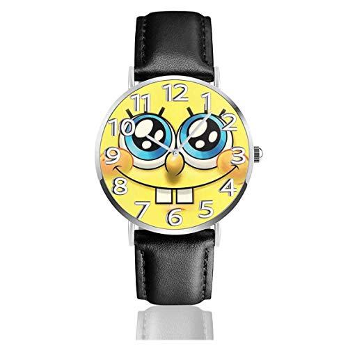 Spongebob Squarepants Reloj Unisex de Cuarzo analógico de fácil Lectura de 38 mm con Correa de Cuero