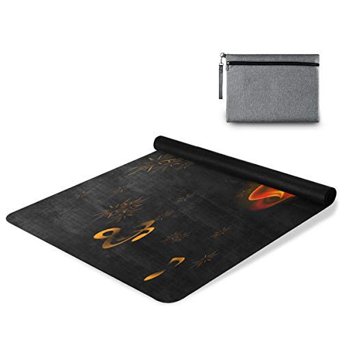 Simaac Yogamatte mit Musiknoten, brennende Gitarre, Feuerwerk, rutschfeste Yogamatte aus Naturkautschuk, 180 x 66 cm