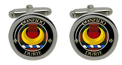 Durward Clan écossais pour homme Écusson Chrome Boutons de manchette avec coffret cadeau