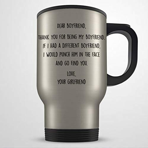 Divertida taza de viaje para novio y novio con texto en inglés 'Boyfriend'
