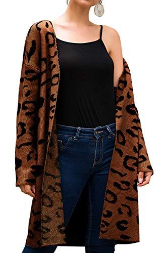 Angashion Women's Long Sleeves Leopard Print Knitting Cardigan Open Front Warm Sweater Outwear Coats 318Coffee M