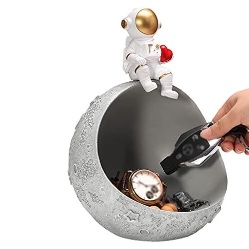 MTFBQ Astronaut Ornament Key Bowl-Harz-Astronaut & PlanetStatues, Key-Speicher-Halter Desktop-Keksdose Organizer, Schlüssel Telefon-Mappen-Münzen Schmuck Storag, Mehrzweckschacht (Color : Grey1)